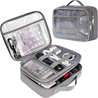 Matein Clear Electronics Travel Organizer, Waterproof Electronic Accessories Case Portable Large Cable Organizer Bag with ...