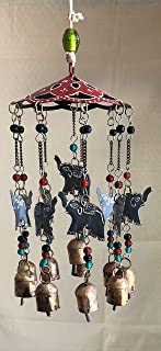India Arts Beautiful Large Wind Chimes Outdoor Sound Rich Relaxing Tones - Carousel with Tin Bells and Beads - Music to Your Ears (6 x 15 inches, Red Gray Elephants)