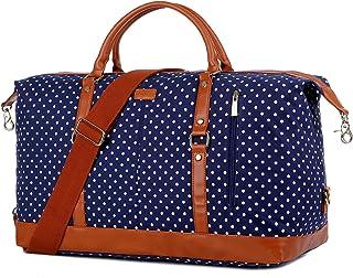 BAOSHA HB-14 - Borsone da viaggio da donna, per weekend Blu Blue Polke Dot x-large