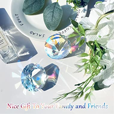 2 Pieces 50 mm / 2 Inch AB Color Faceted Diamond Crystal Rainbow Maker Paperweight Crystal for Home Office Decor and Wedding