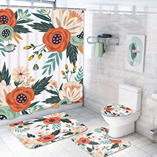 Ikfashoni Flower Shower Curtain Set with Non-Slip Rugs, Toilet Lid Cover and Bath Mat, Colorful Floral Shower Curtains with 12 Hooks, Durable Waterproof Fabric Shower Curtain for Bathroom