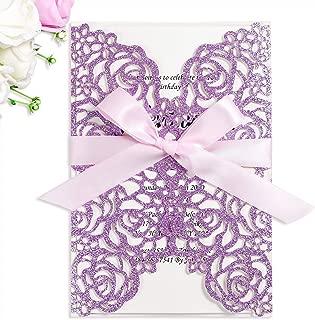PONATIA 25PCS/Lot 250GSM 5.12 x 7.1'' Laser Cut Invitations Hollow Rose With Light Pink Ribbons Glitter Wedding Invitations Cards For Wedding Bridal Shower Engagement Birthday (Purple Glitter)