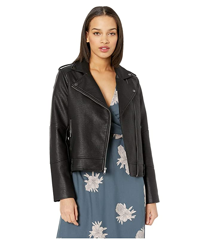 Cupcakes and Cashmere Vivca Washed Vegan Leather Jacket (Black) Women