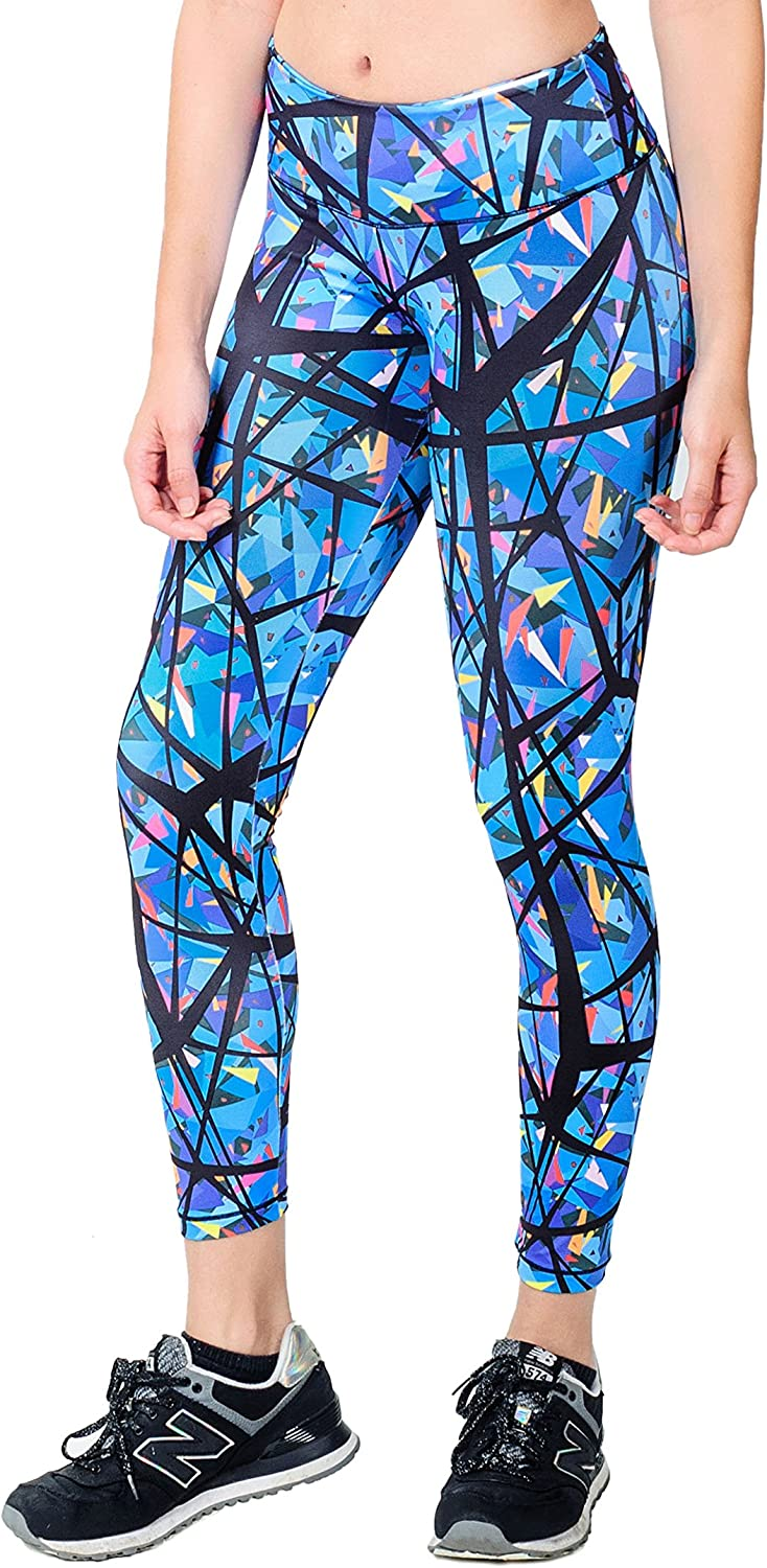 Activefit Pollock Stretch High Waisted Workout Yoga Pants Patterned Leggings for Women