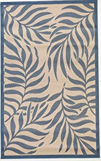 Outdoor Mats Flatweave Indoor Outdoor Rugs with Contemporary Tropical Design Area Rugs Patio Rug Flooring Carpets 8x10 (7'10''x9'10'', Blue)