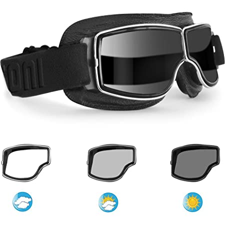 Piwear Nevada Motorradbrille über Helm Für Brillenträger Geeignet Retro Klassik Oldtimer Schutzbrille Schwarz Dunkel Getönt Auto