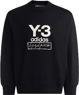 Y-3 Man's Black Crewneck Sweatshirt with Contrast Logo