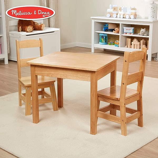 Melissa Doug Solid Wood Table Chairs Kids Furniture Sturdy Wooden Furniture 3 Piece Set 20 H X 23 5 W X 20 5 L