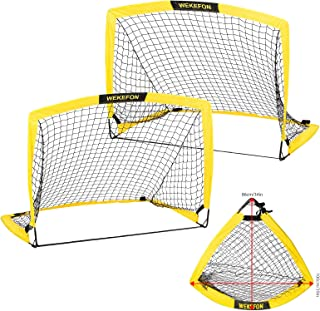 WEKEFON Soccer Goals, Set of 2 - Size 3.6'x2.7' Portable Foldable Soccer Nets for Backyard Outdoor Training and Games Goal for Kids and Teens with Carrying Bag