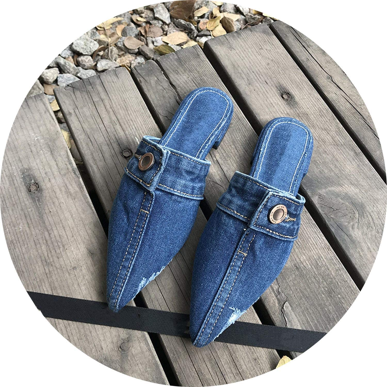 FINDYOU Denim Mules shoes Women Pointed Toe shoes Flats Woman Jeans Slippers Female Slides Slippers