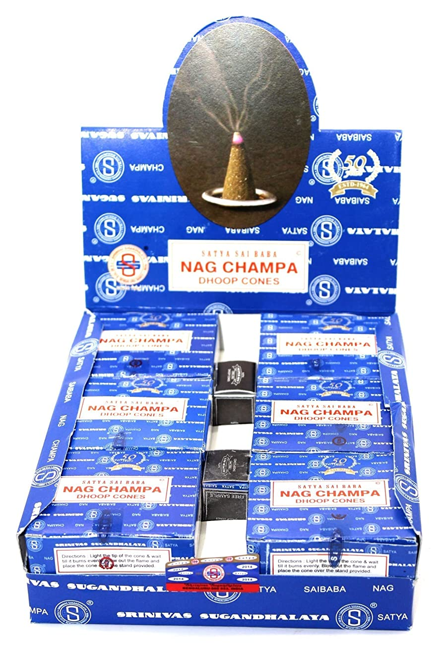 お手入れ潜む規定Nag Champa Satya Sai Baba Temple Incense Cones Carton, 12 Box by Nag Champa [並行輸入品]