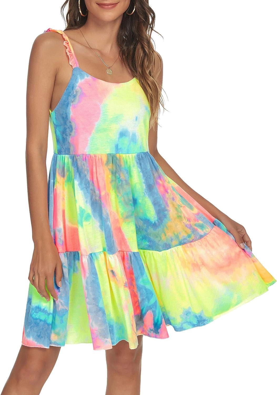 Missufe Women's Spaghetti Strap Tie Dye Summer Casual Ruffle Swing Dress