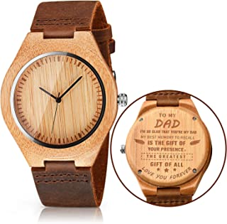 CUCOL Mens Wooden Watches Brown Cowhide Leather Strap...