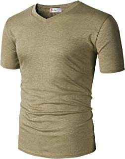 860f7dd0980 H2H Mens Casual Slim Fit Short Sleeve T-Shirts Cotton Blended Soft  Lightweight V-