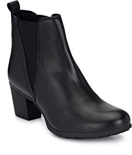 Delize Black Mid heal Ankle Boots for Women's