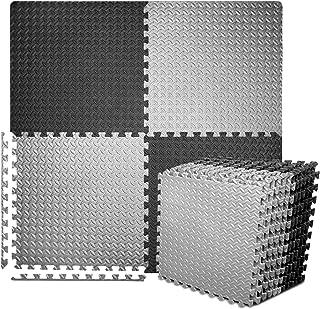 BEAUTYOVO Puzzle Exercise Mat with 12/24 Tiles Interlocking Foam Gym Mats, 24'' x 24'' EVA Foam Floor Tiles, Protective Flooring Mats Interlocking for Gym Equipment