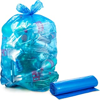 Recycling Trash Bags 55 Gallon, Large Blue Plastic Garbage Bags, 50/Count