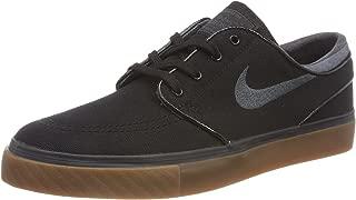 Nike New SB Zoom Stefan Janoski Canvas Black/Anthracite/Gum Medium Brown Men's Skate Shoes (9.5)