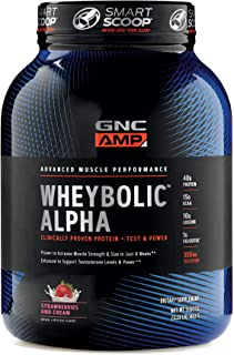 GNC AMP Wheybolic Alpha Whey Protein Powder, Strawberries and Cream, 22 Servings, Contains 40g Protein and 15g BCAA Per Serving