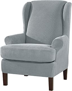 SU SUBRTEX Strench Wingback Chair Sofa Cover 2 Pieces Soft Sofa Slipcover Spandex Chair Cover Washable Furniture Protector for Living Room(Wing Chair,Light Grey)