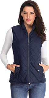 MISS MOLY Women's Lightweight Quilted Zip Vest Stand Collar Gilet Padded Sleeveless Vest
