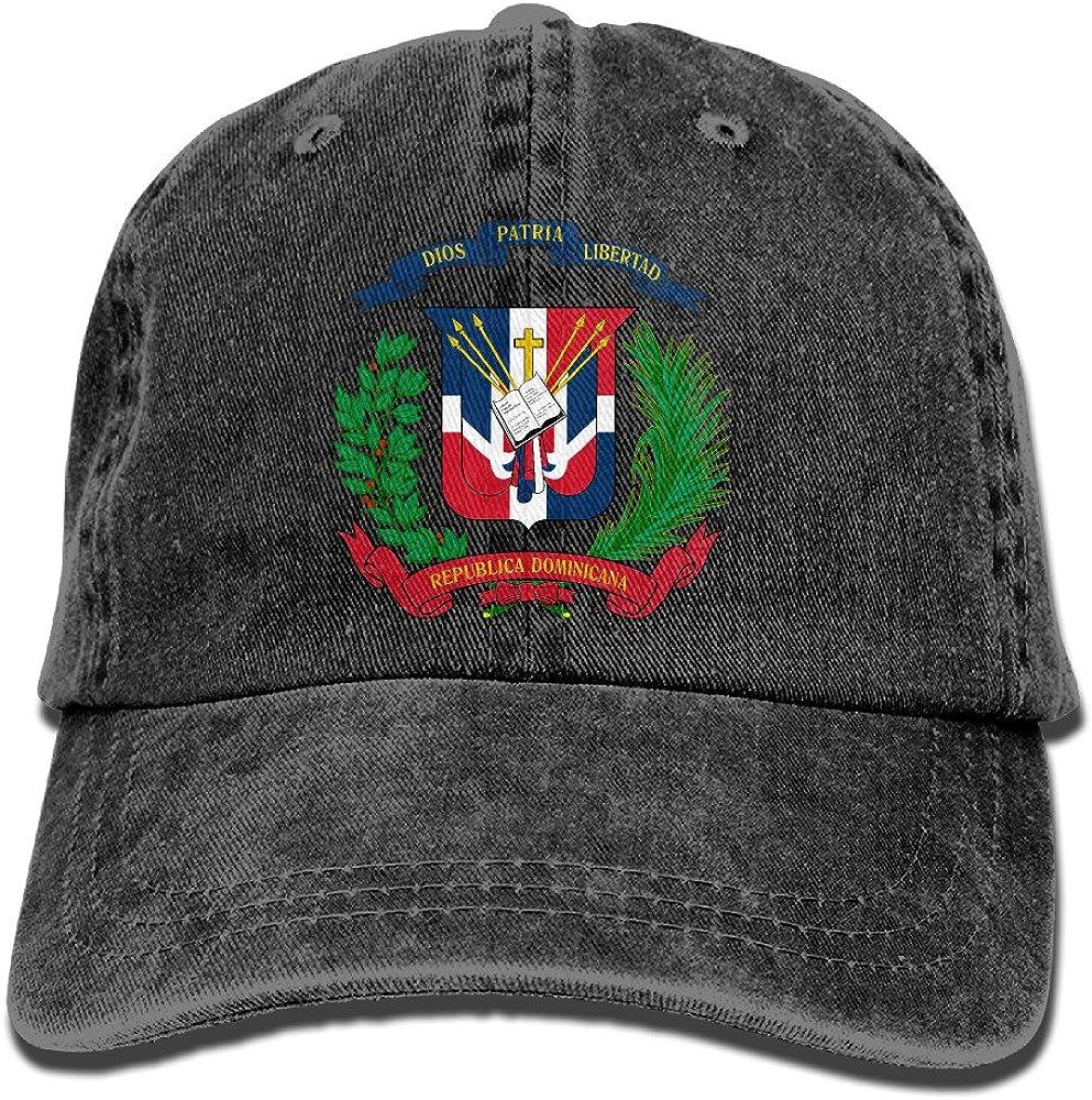 Yuer Ley Men&Women Dominican Flag Adjustable Vintage Washed Denim Cotton Dad Hat Baseball Hats Black