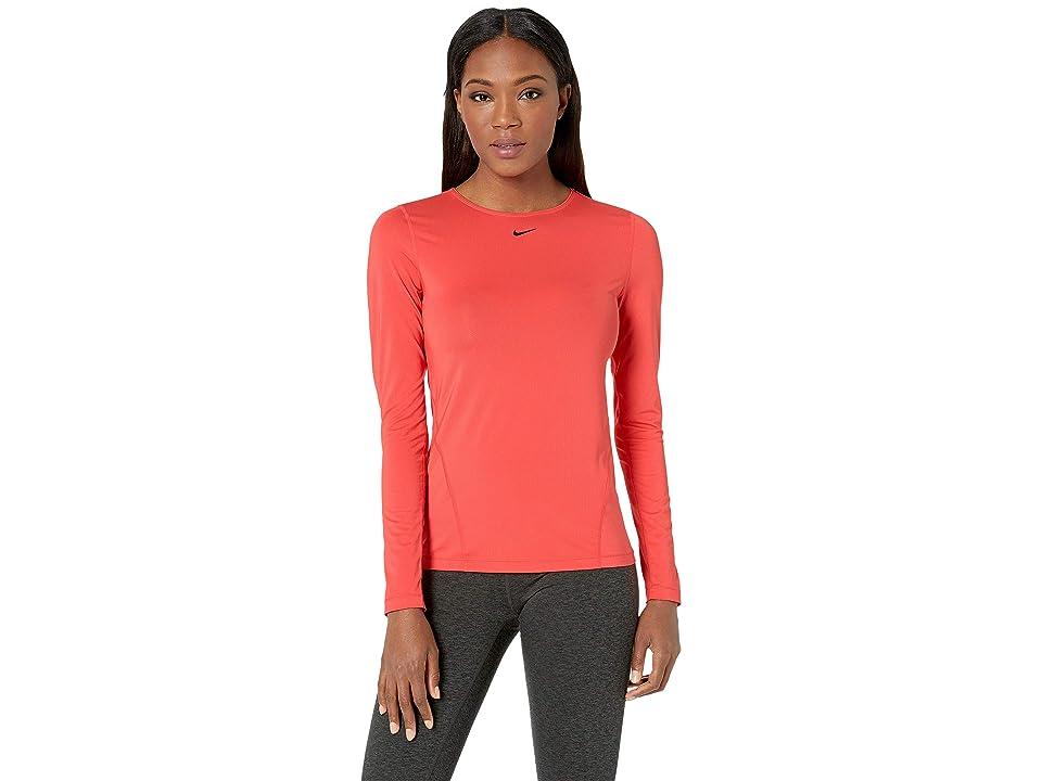 Nike Pro All Over Mesh Long Sleeve Top (Ember Glow/Black) Women
