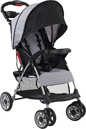 Kolcraft Cloud Plus Lightweight Stroller with 5-Point Safety System and Multi-Position Reclining Seat, Extended Canopy, Easy One Hand Fold, Large Storage Basket, Parent & Child Tray, Slate Grey