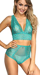4ec5440d01c1c The victory of cupid Women 2 Piece Floral Lingerie Sets Lace Babydoll  Bralette Bra and Panty