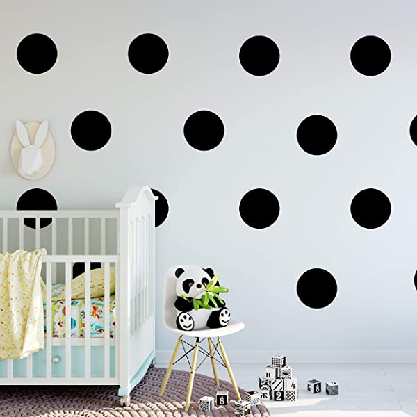 FOAL 6 Set Of 18 Polka Dot Circles Vinyl Lettering Decal Home Decor Wall Art Saying Black