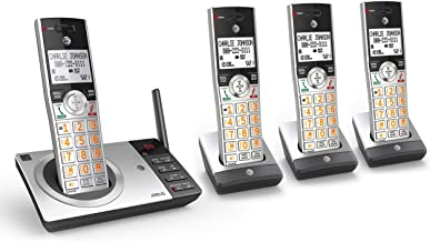 $58 » AT&T CL82407 DECT 6.0 Expandable Cordless Phone with Answering System & Smart Call Blocker, Silver/Black with 4 Handsets (...