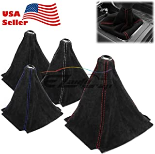 EZAUTOWRAP Universal Real Alcantara Shift Knob Shifter Boot Cover Black with Black Stitches Genuine Leather MT at Sport