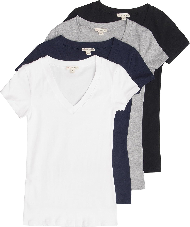 4 Pack Zenana Women's Basic Black V-Neck Small Cheap mail Finally resale start order shopping White T-Shirts
