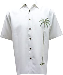 Bamboo Cay Men's Single Palm Embroidered Casual Hawaiian Button Down Shirt