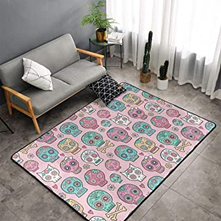 Memory Foam Kitchen Rugs for Hotel Kid Rooms Dorm Room, Non Skid Backing Floor Pad Rugs Comfort Throw Rugs Runner, Anti Fatigue, Sugar Skulls On Pink, 60 x 39 Inch