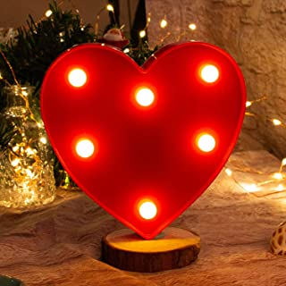Brightown Decorative LED Marquee Lights Red Heart Shaped Light Up Sign Wedding Birthday Party Night Light Christmas Lamp Home Bar Decoration Battery Operated