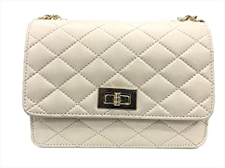 Amyence Women Girls Casual Quilted Sling Cross Body Bag(Off White)