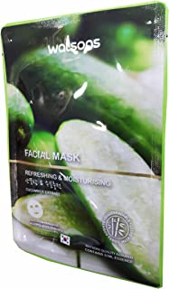 2 Mask sheets of Watsons Refreshing & Moisturising Cucumber Extract Facial Mask. Free from Parabens, Alcohol & Colourants. Bamboo Fabric Mask Sheet.Made in Korea. (30 Ml Essence/sheet)