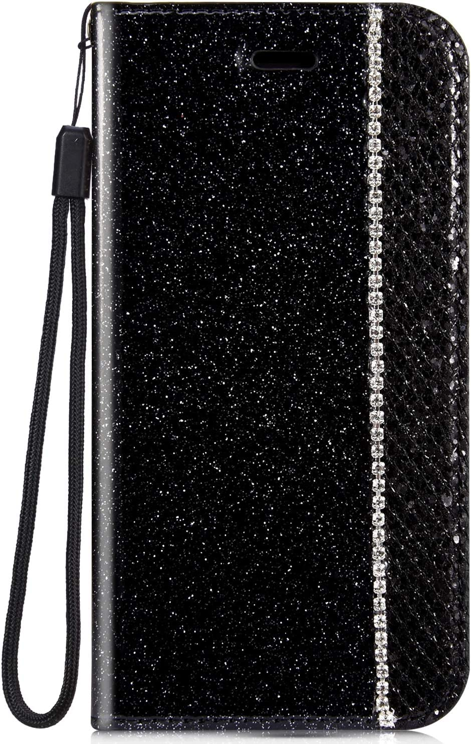 IKASEFU Shiny Rhinestone Diamond Sparkle Bling Glitter Luxury Wallet with Card Holder Flash chip Pu Leather Magnetic Flip Case Protective Cover Case Compatible with iPhone 7 Plus/8 Plus,Black