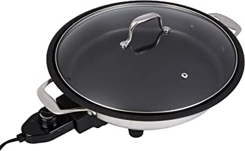 CucinaPro Electric Skillet with Tempered Glass Lid- Professional Grade Non-stick Cooker w Stainless Steel Body- 12