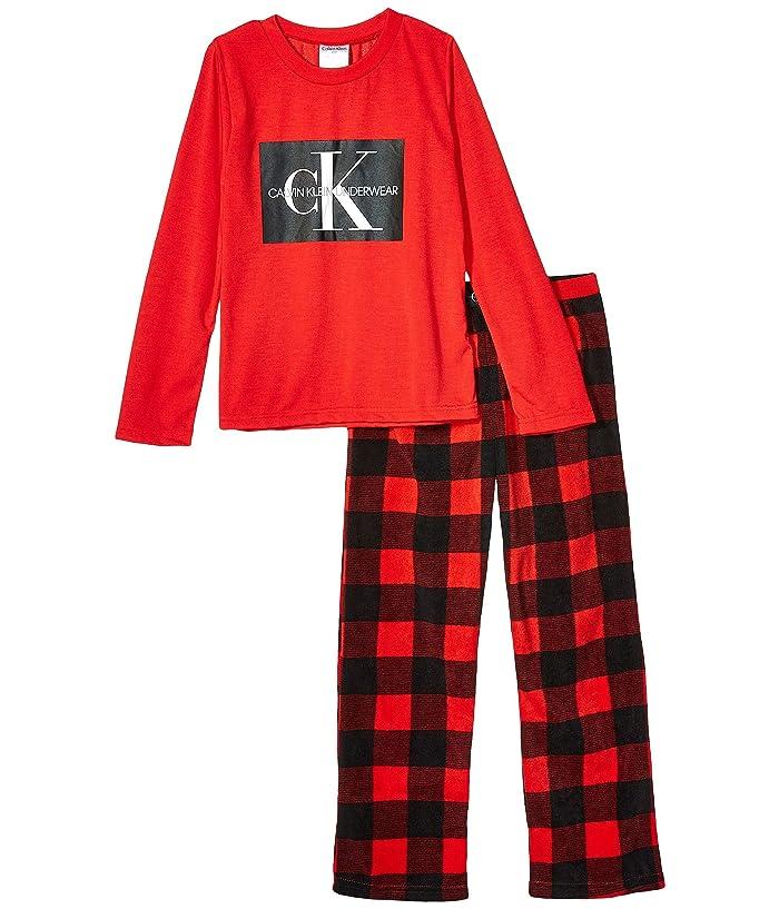 Piece Set Long Sleeve Top w/ Cozy Pants (Little Kids/Big Kids) (High Risk Red/Red Buffalo) Boy's Pajama Sets