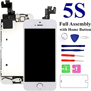 for iPhone 5S 4.0'' Screen Replacement (White), Nroech 5S LCD Display Touch Screen Digitizer Replacement Full Assembly with Repair Tool Kit + Free Screen Protector