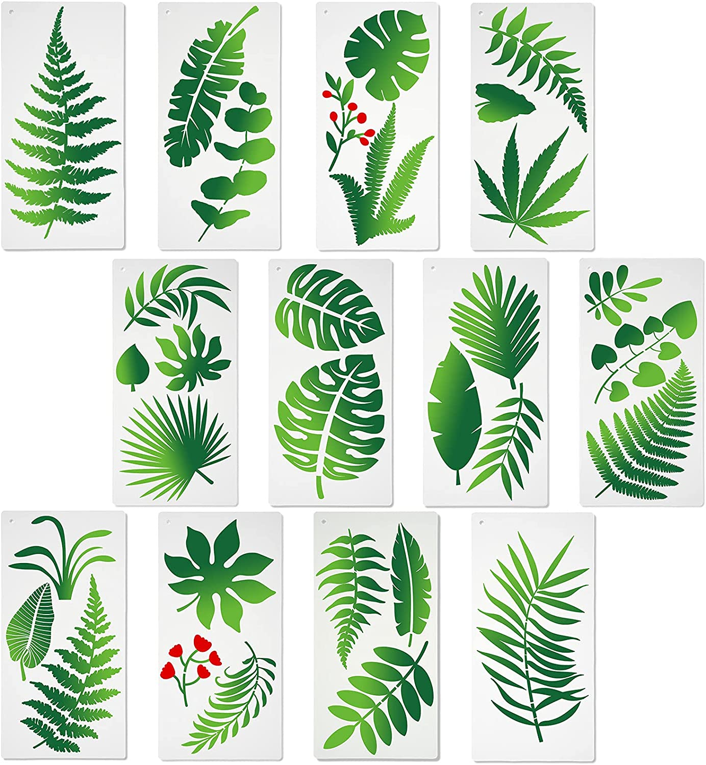 12 Pieces Leaf Art Stencils, Large Plastic Stencils on Crafts Home Decor Wall DIY Wood Sign for Printing Tropical Banana Template Fern Leaf Palm Botanical Leaves 13.78 x 5.9 inch
