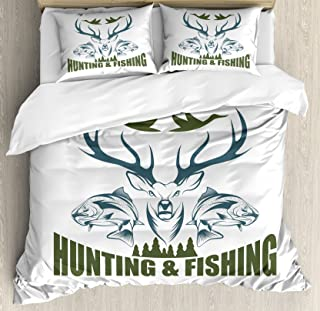 Ambesonne Hunting Duvet Cover Set, Animals Emblem Moose Head Horns Trout Salmon Sea Fishes, Decorative 3 Piece Bedding Set with 2 Pillow Shams, Queen Size, Olive Green
