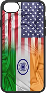 iPhone 7/8 Indian American Flags Protective Rubber TPU Phone Case India America (Compatible with iPhone 7/8)