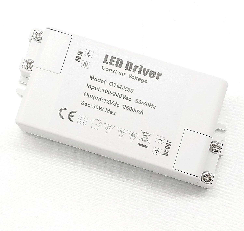 YAYZA! 1-Paquete Transformador de Conductor LED de Bajo Voltaje IP44 12V 2.5A 30W Fuente de Alimentación Conmutada de CA/CC