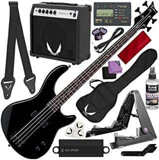 Dean Edge 09 Bass and Amp Pack - Black Dean Edge 09 Bass Guitar, Bass Amp, Gig Bag, Tuner, Cord, Strap, Picks + Guitar Stand Deluxe Accessory Bundle