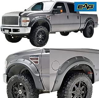 EAG Fender Flares 4PCS Textured Black Pocket Rivet Style ABS Fit for 08-10 Ford Super Duty F250/F350