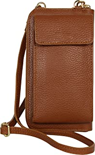 AmbraModa GLX21 - bolso bandolera multifuncional para teléfono celular, billetera de piel para mujer, apto para teléfonos ...