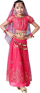 FEOYA Kids Girls Belly Dance Costume Bollywood Indian Dancewear Halloween Party Fancy Dress Outfit Performance Costume
